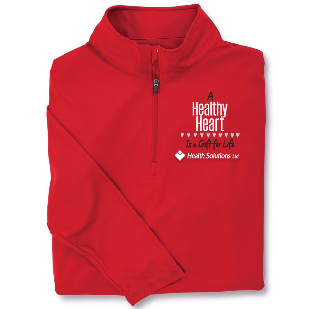 A Healthy Heart Is A Gift For Life Red Performance Quarter-Zip Pullover - Personalization Optional