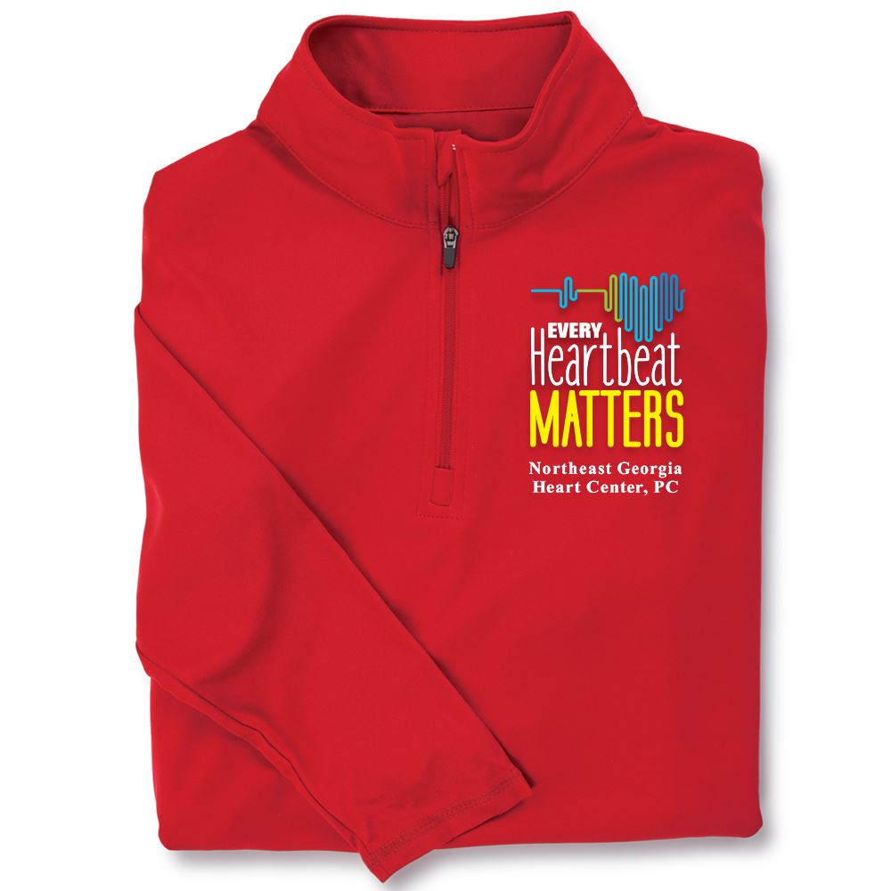 Every Heartbeat Matters Red Performance Quarter-Zip Pullover - Personalization Available