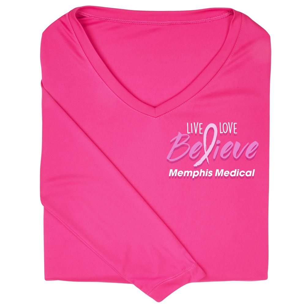 Live, Love, Believe Sport-Tek® Long Sleeve PosiCharge® Competitor® V-Neck T-Shirt - Personalization Available