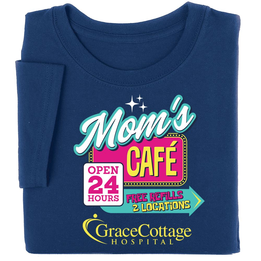 Mom's Diner... Open 24 Hours Awareness T-Shirt - Personalization Available