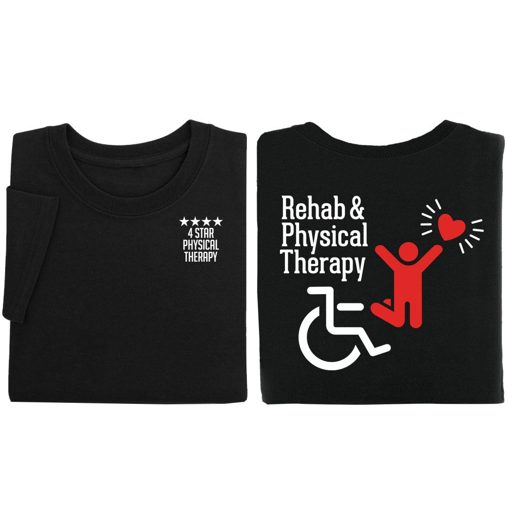 Rehab/PT With Heart Two-Sided Short Sleeve T-Shirt - Personalized