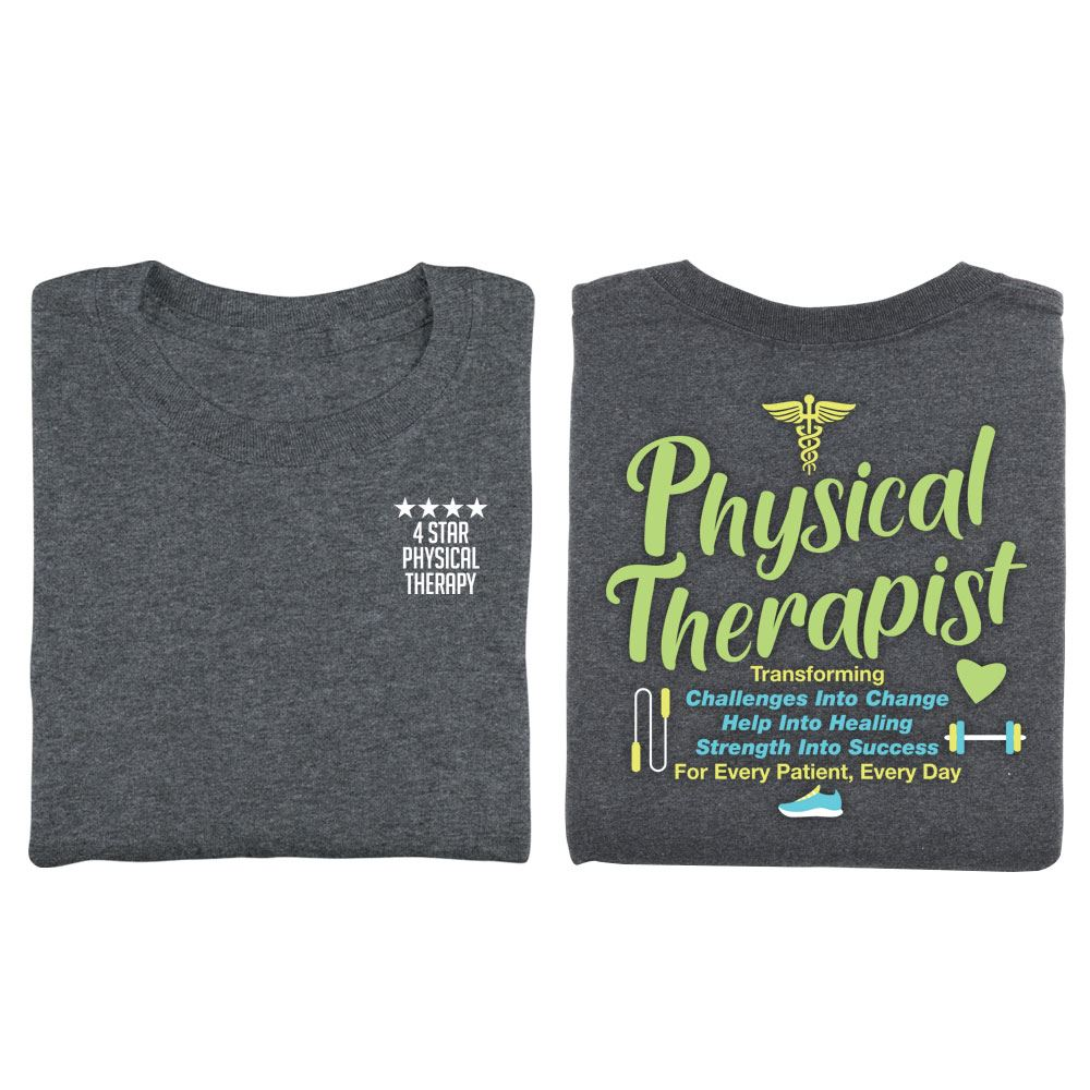Physical Therapist: Transforming Challenges Two-Sided Short Sleeve T-Shirt - Personalized