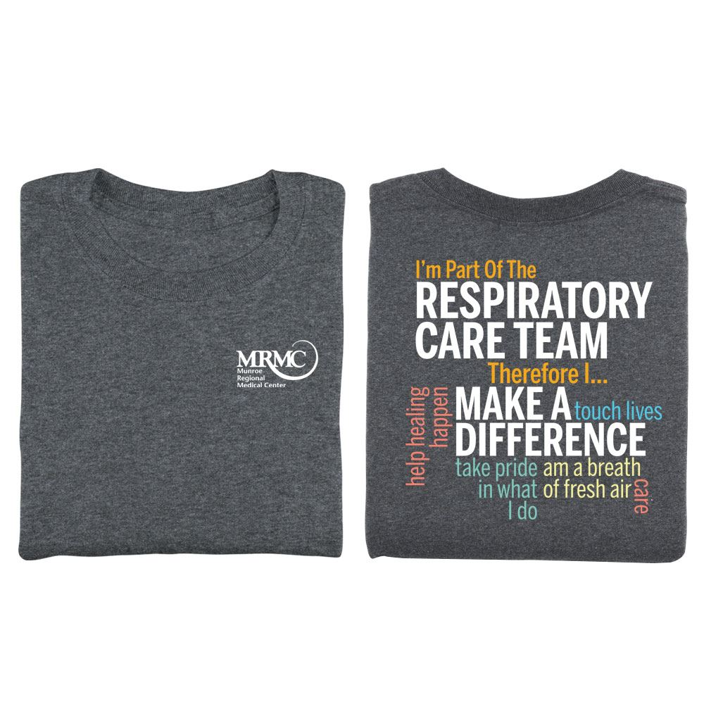 Respiratory Care Team Word Cloud Two-Sided Short Sleeve T-Shirt - Personalization Available