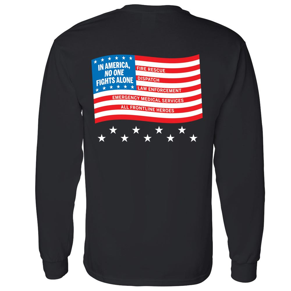 In America, No One Fights Alone 2-Sided Long Sleeve T-Shirt - Personalized