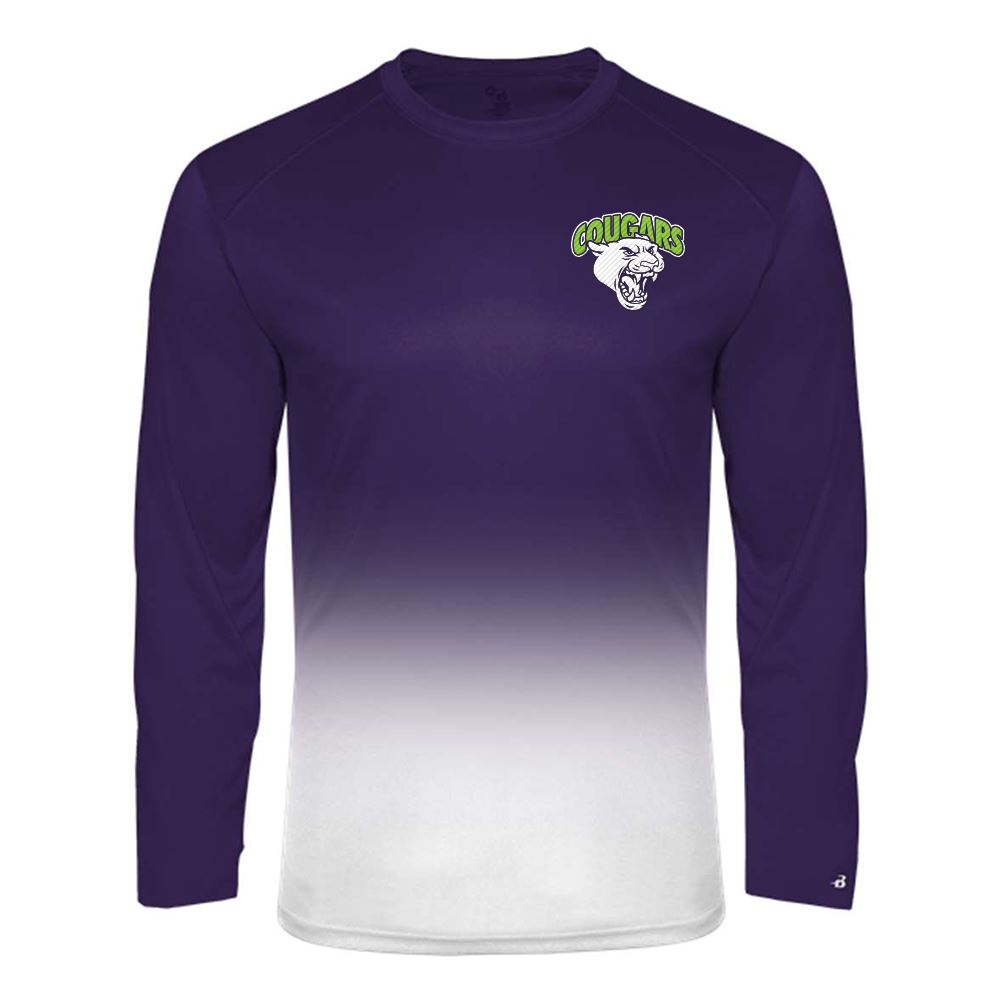 Badger Ombre Long Sleeve T-Shirt - Personalization Available