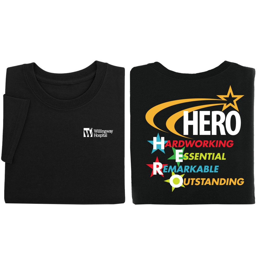 HERO Hardworking, Essential, Remarkable, Outstanding Personalized Positive 2-Sided T-Shirts