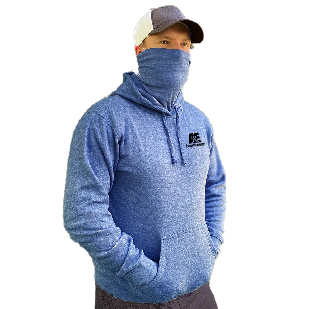 2-In-1 Fleece Hooded Sweatshirt With Gaiter Face Cover - Silkcreened Personalization Available