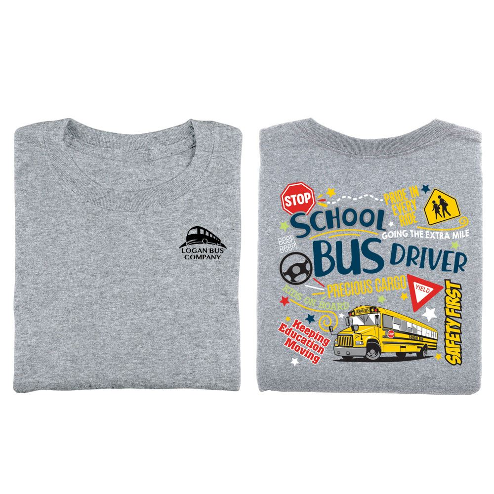 School Bus Driver Signs & Icons Positive Short-Sleeve T-Shirt  -  Personalization Available