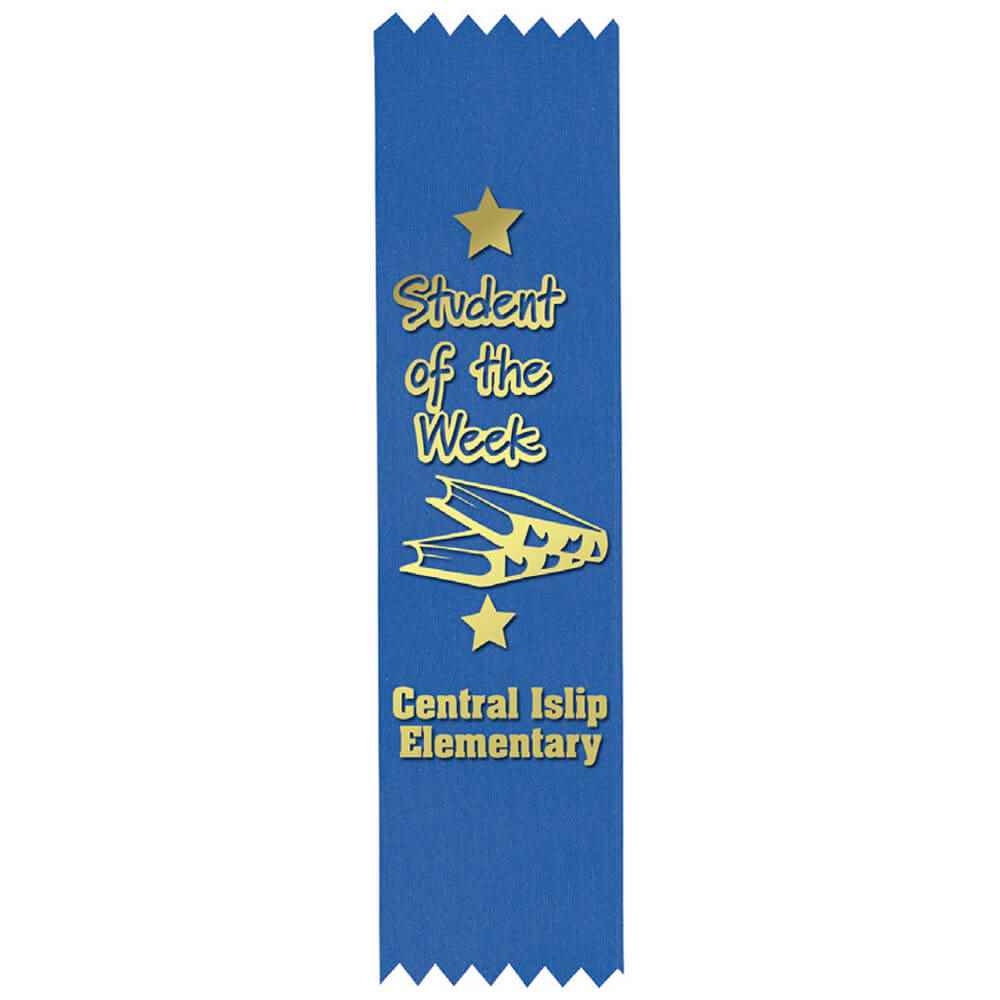 Custom Gold Foil-Stamped Blue Satin Ribbon - Personalization Available