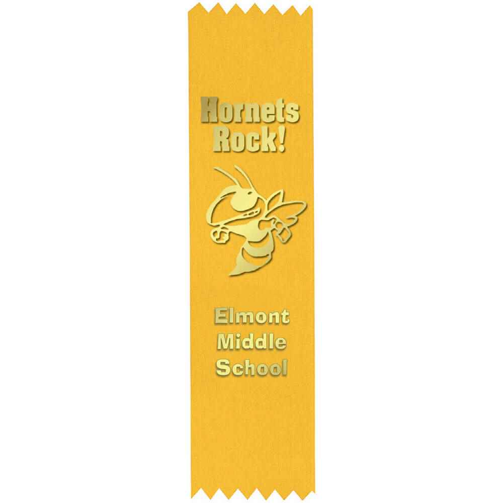 Custom Gold Foil-Stamped Yellow Satin Ribbon - Personalization Available