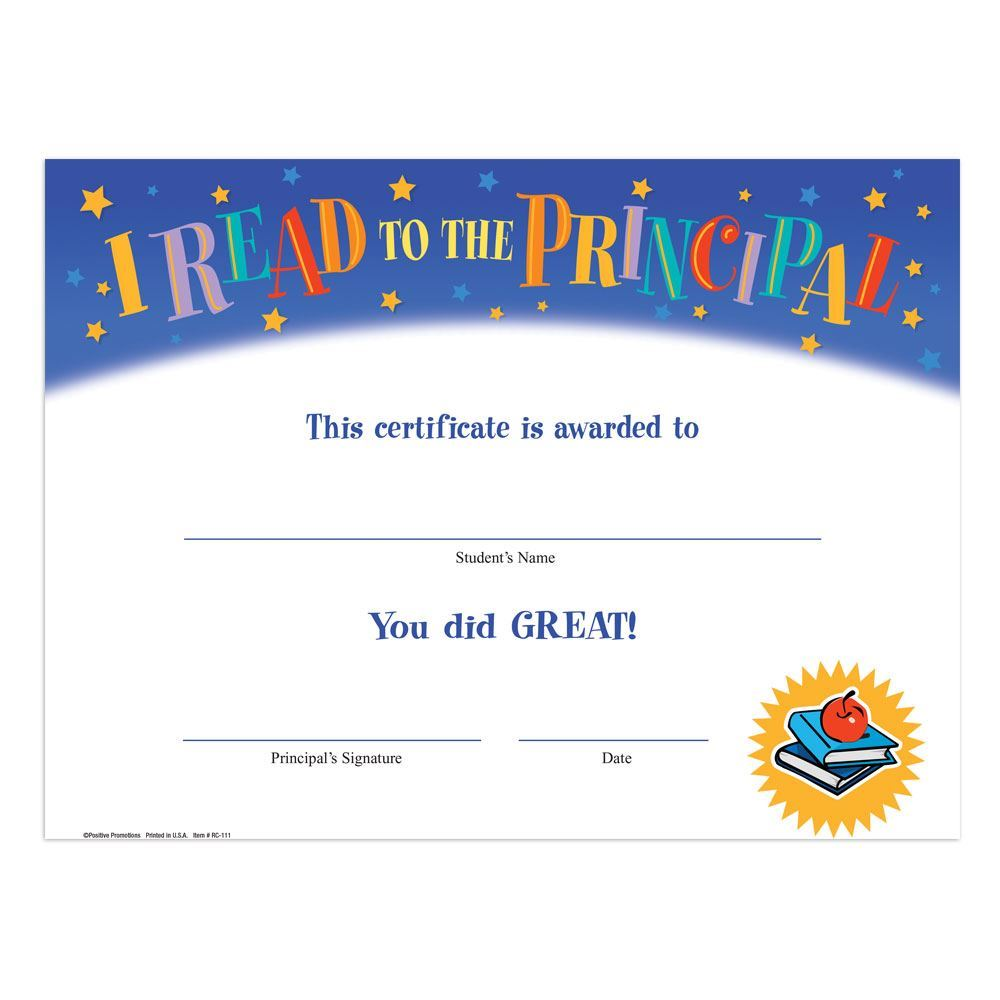I Read To The Principal Gold Foil-Stamped Certificates - Pack of 25