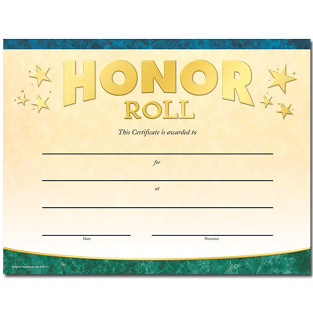 Honor Roll Gold Foil-Stamped Certificates - Pack of 25