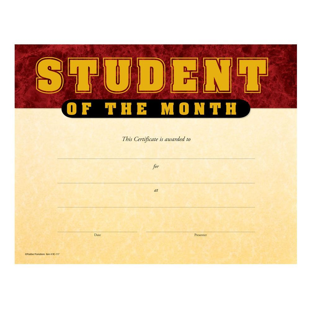 Student Of The Month Gold Foil-Stamped Certificates - Pack of 25