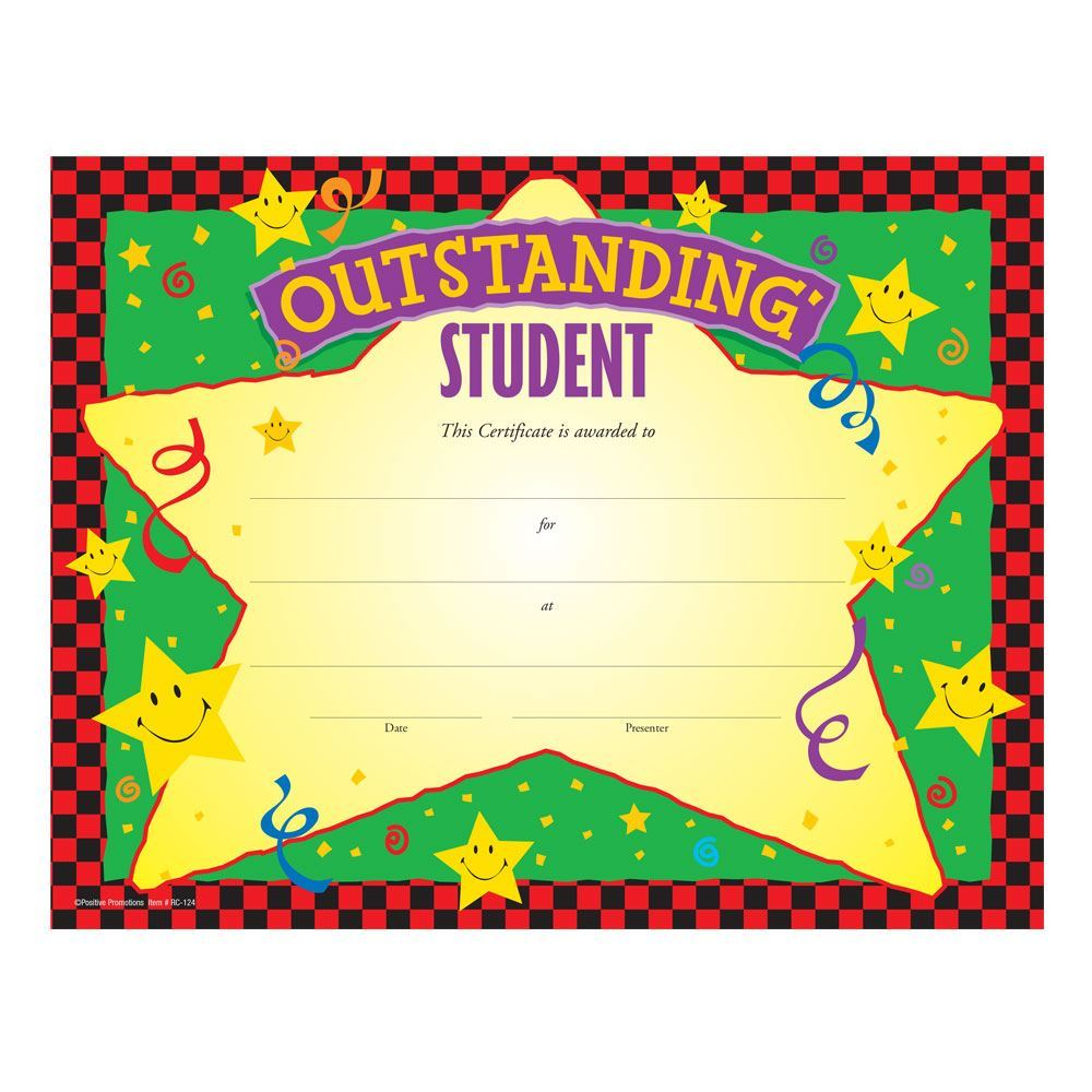 Outstanding Student Gold Foil-Stamped Certificates - Pack of 25