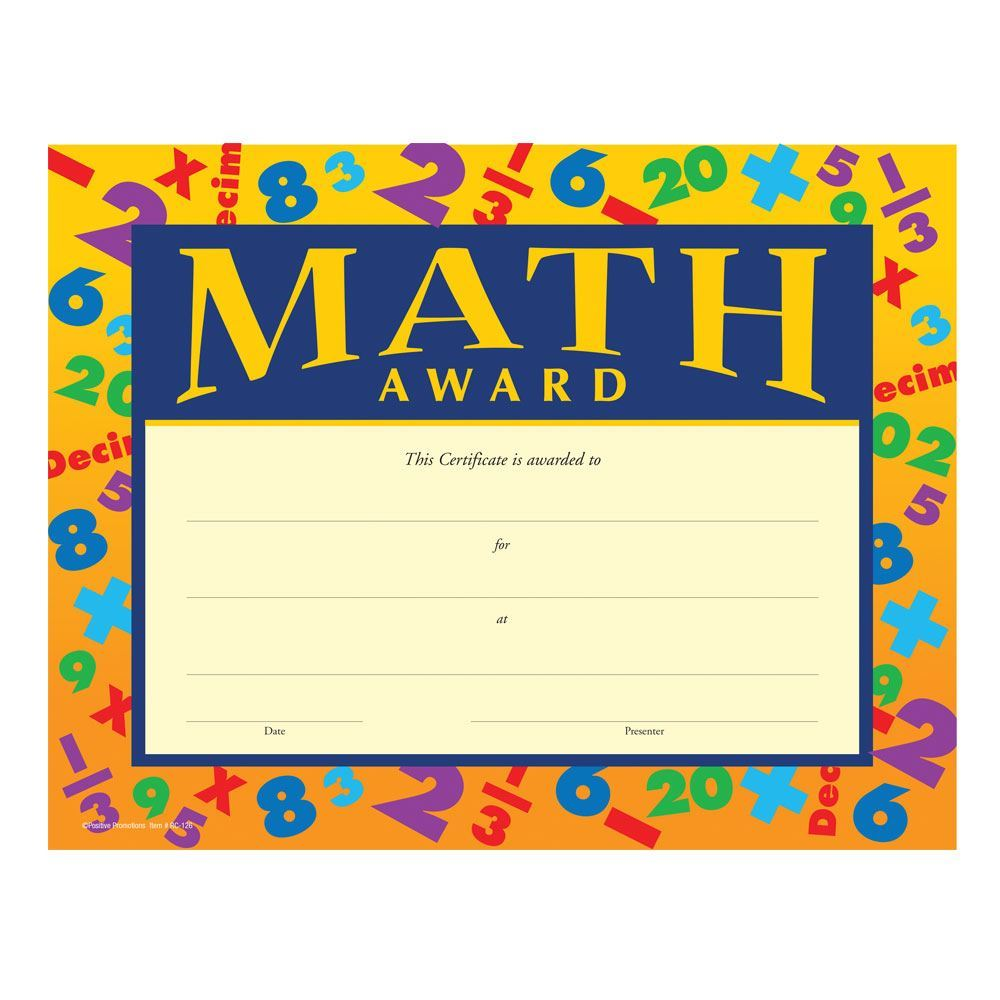 Math Award Gold Foil Stamped Certficates Positive Promotions
