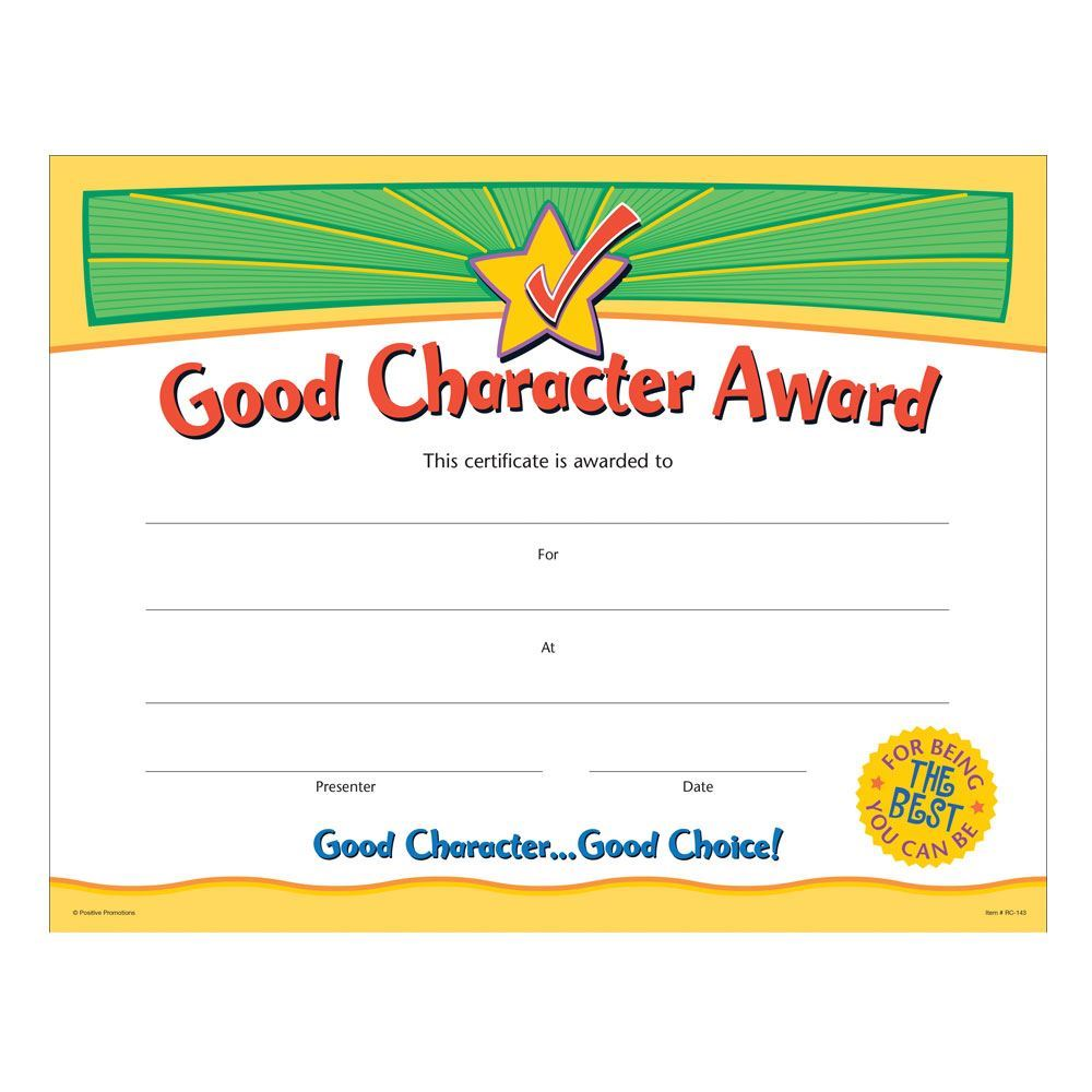 Good Character Award Gold Foil Stamped Certificates