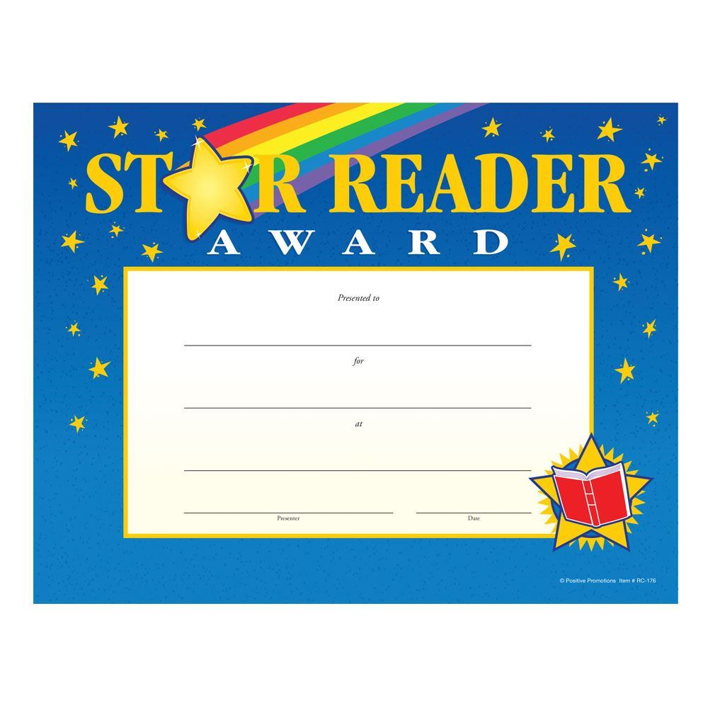 Star Reader Award Gold Foil-Stamped Certificate