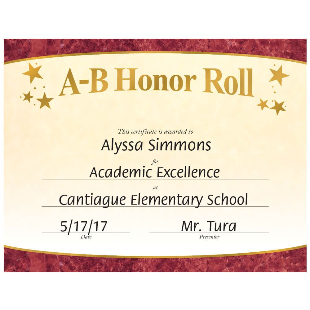 A-B Honor Roll Gold Foil-Stamped Certificates - Pack of 25