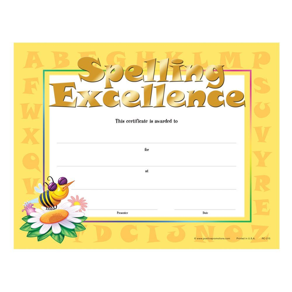 Spelling Excellence Gold Foil-Stamped Certificates - Pack of 25