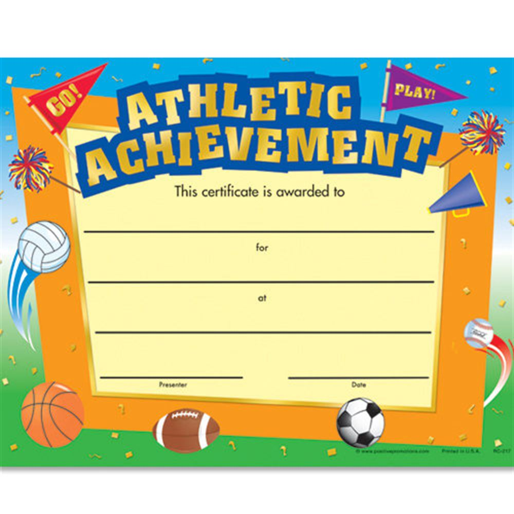 Athletic Achievement Gold Foil-Stamped Certificates - Pack of 25