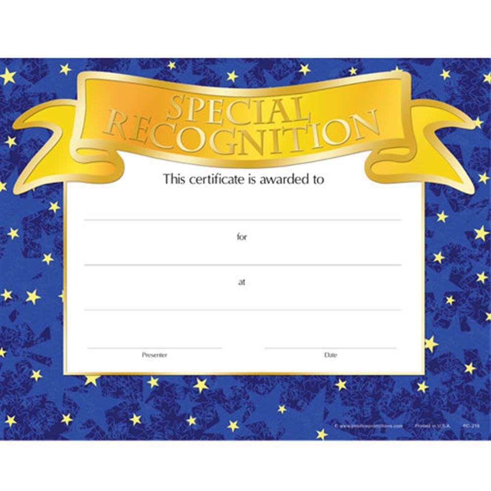 Special Recognition Gold Foil-Stamped Certificates - Pack of 25