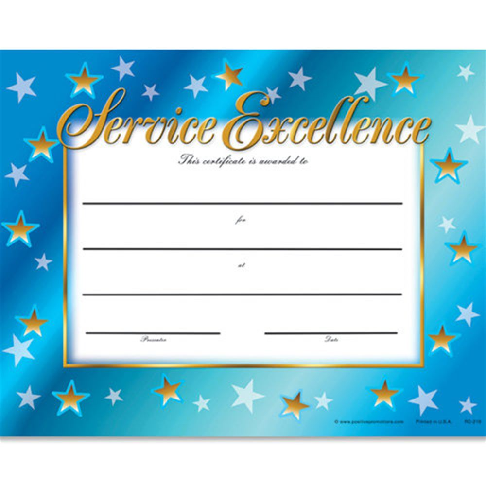 Service Excellence Gold-Foil Stamped Certificates - Pack of 25