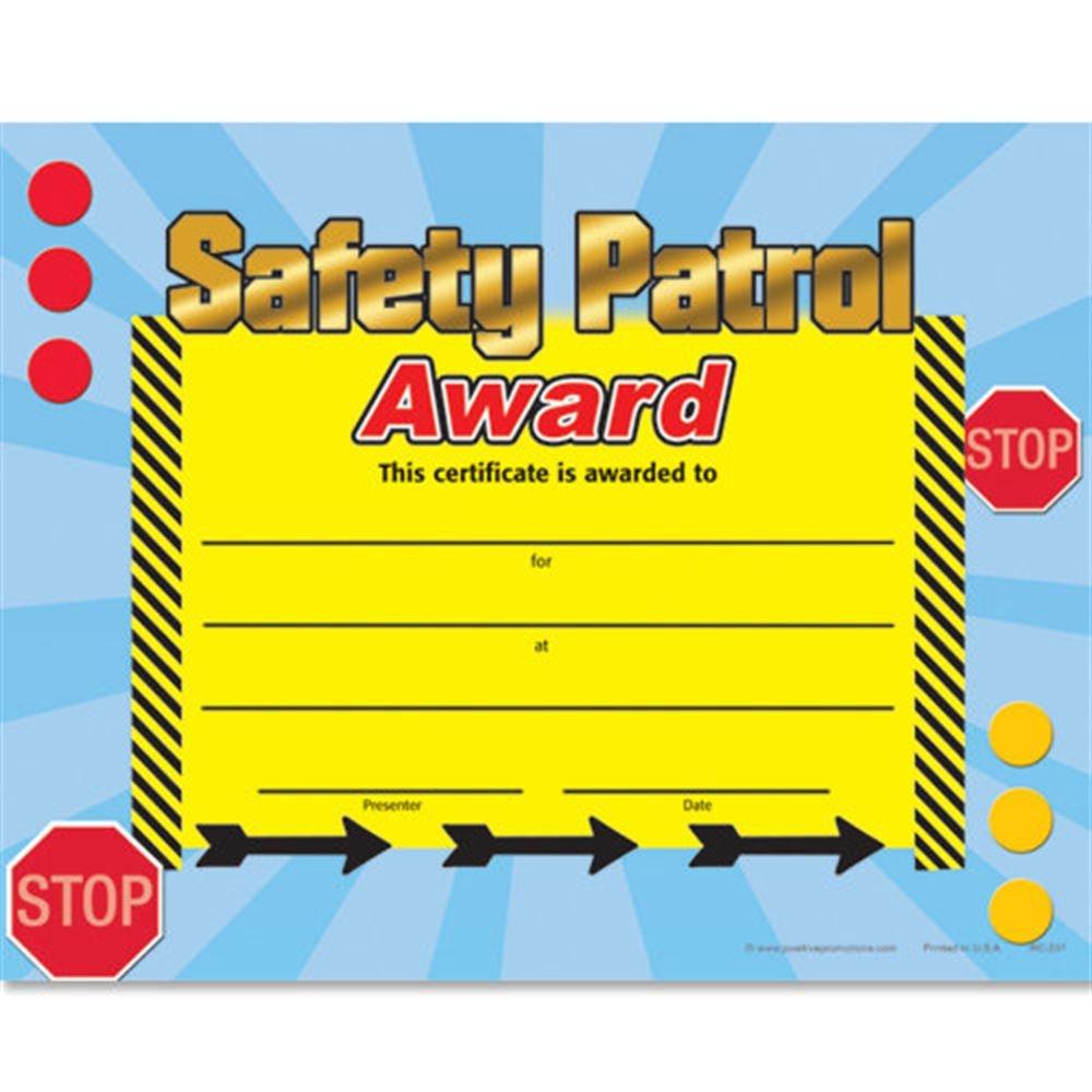 Safety Patrol Award Gold Foil-Stamped Certificates - Pack of 25