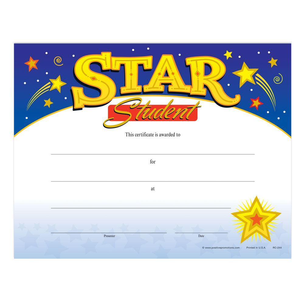 Star Student Gold Foil-Stamped Certificates - Pack of 25