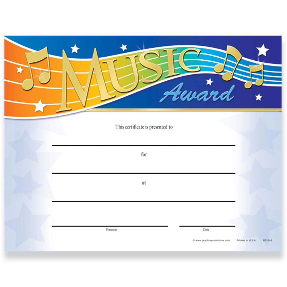 Music Award Gold Foil-Stamped Certificates - Pack of 25
