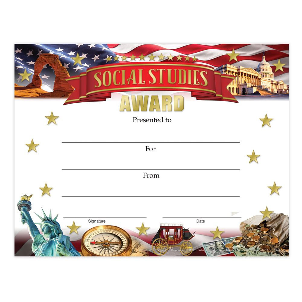 social studies awards gold foil stamped certificates positive