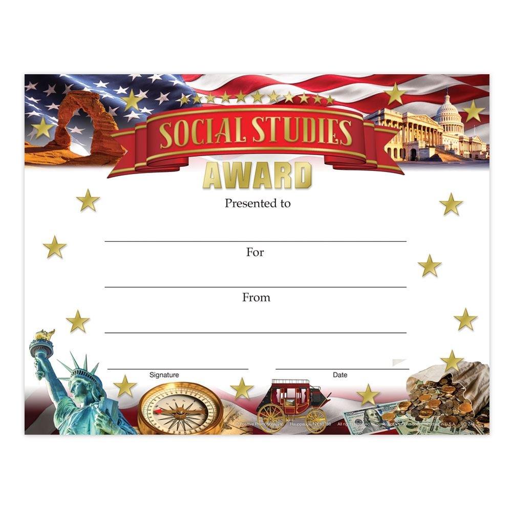 Social Studies Award Gold Foil-Stamped Certificates - Pack of 25