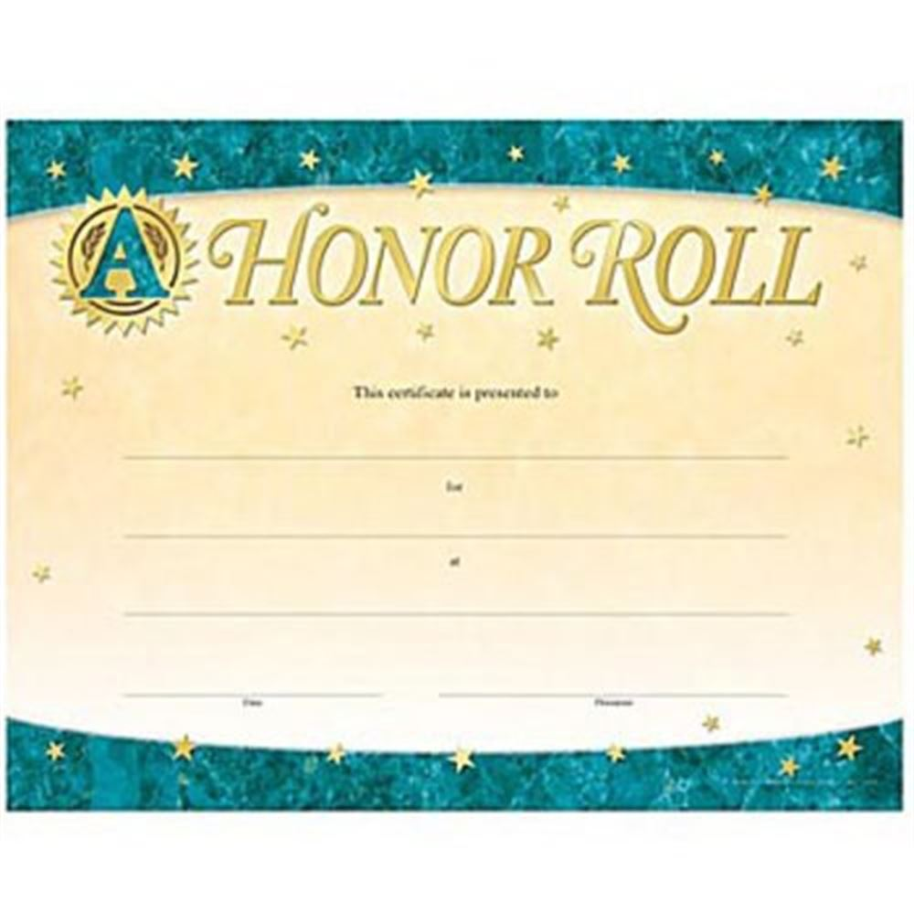 A honor roll gold foil stamped certificates positive for A b honor roll certificate template