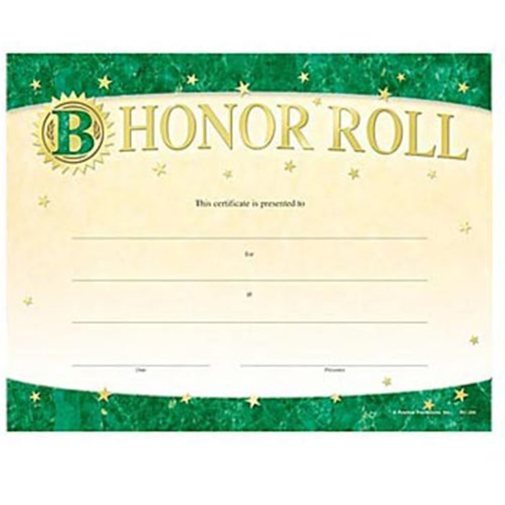 B Honor Roll Gold Foil-Stamped Certificates - Pack of 25