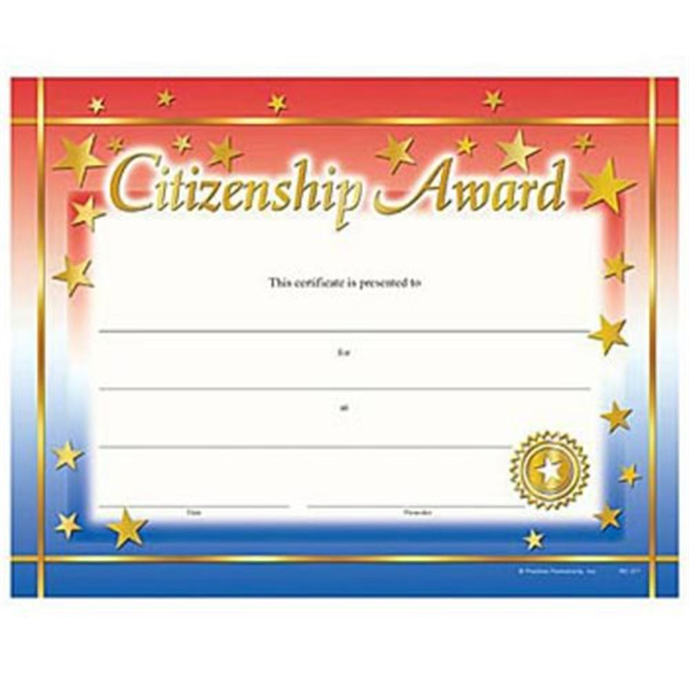 Citizenship Award Gold Foil Stamped Certificates Positive Promotions