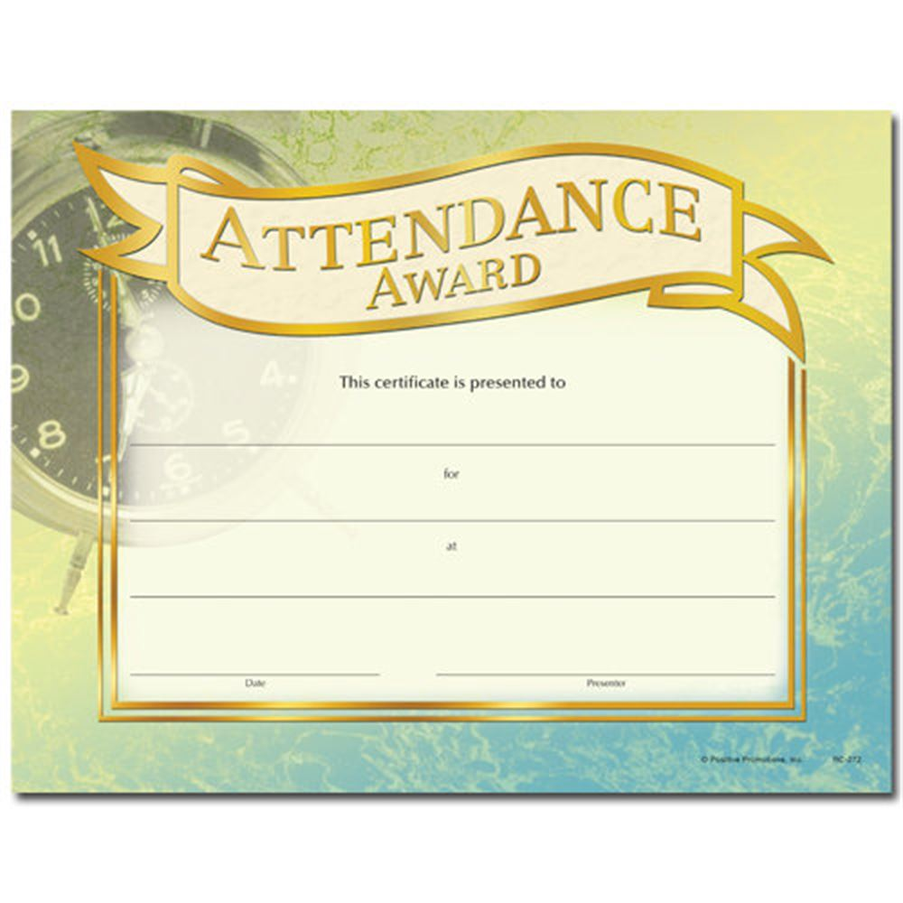 Attendance Award Gold Foil-Stamped Certificates | Positive Promotions
