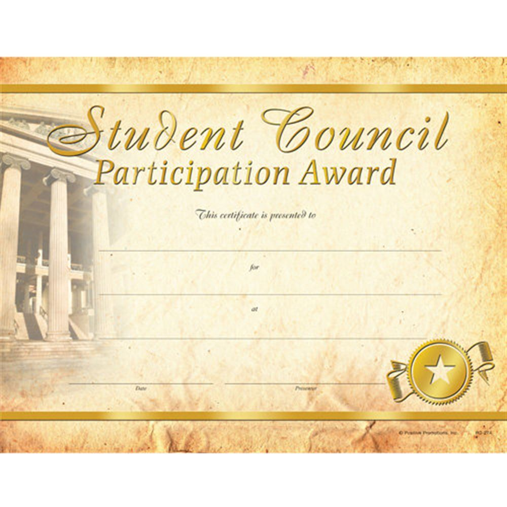 Student Council Participation Award Gold Foil-Stamped Certificates - Pack of 25