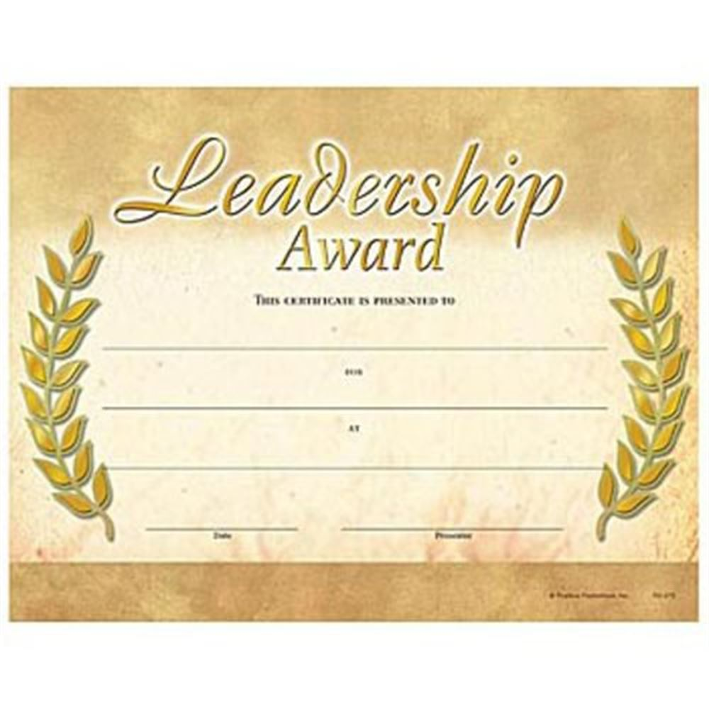 Leadership Award Gold Foil Stamped Certificates Positive Promotions