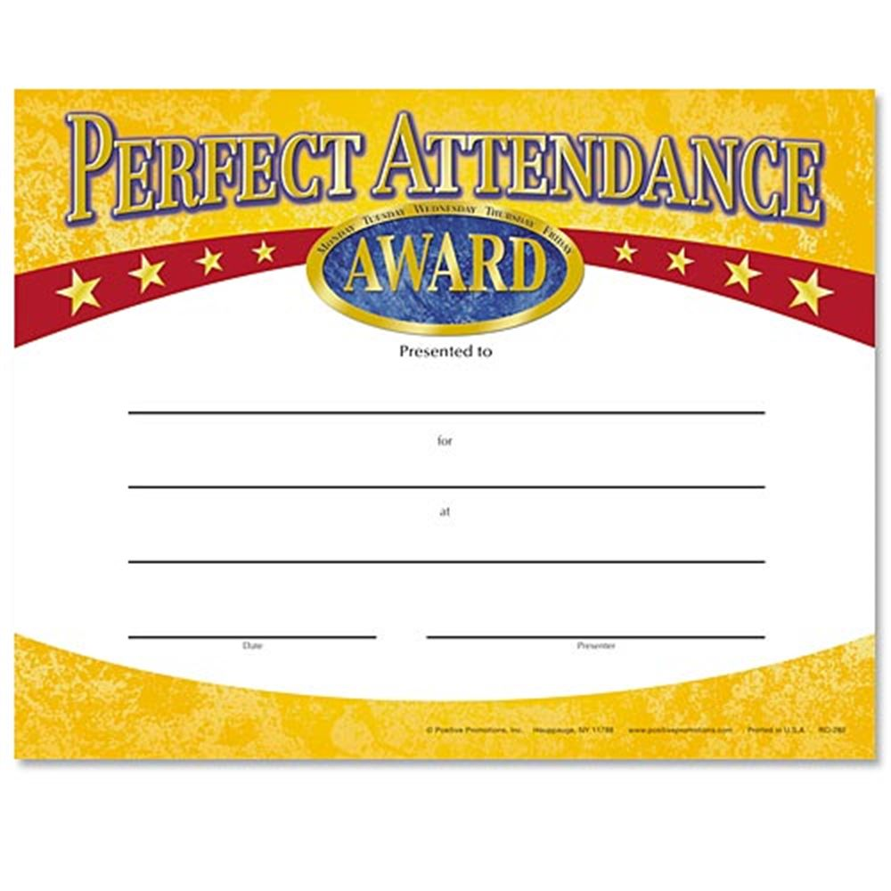 Perfect Attendance Yellow Gold Foil-Stamped Certificates
