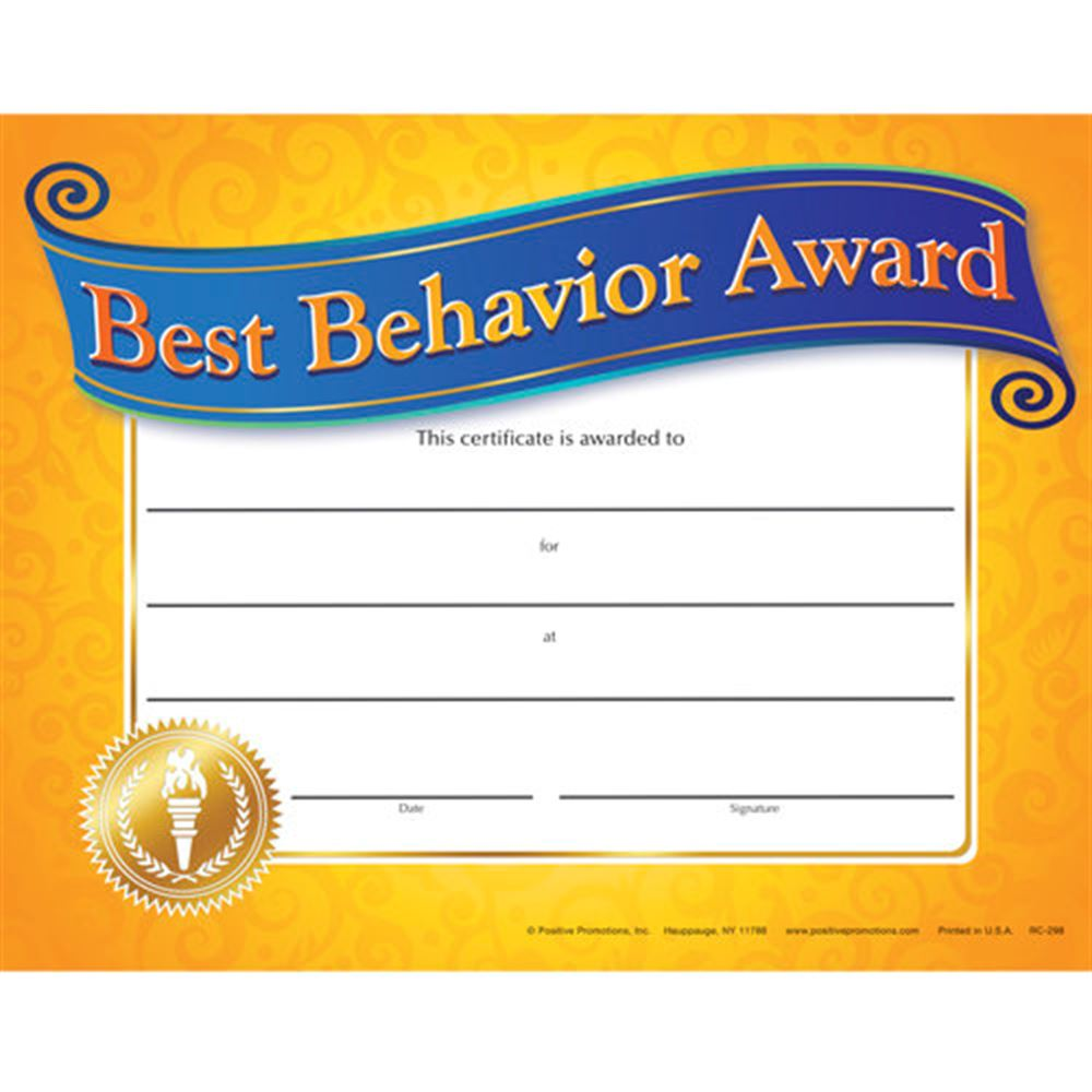 Best Behavior Award Gold Foil-Stamped Certificates - Pack of 25