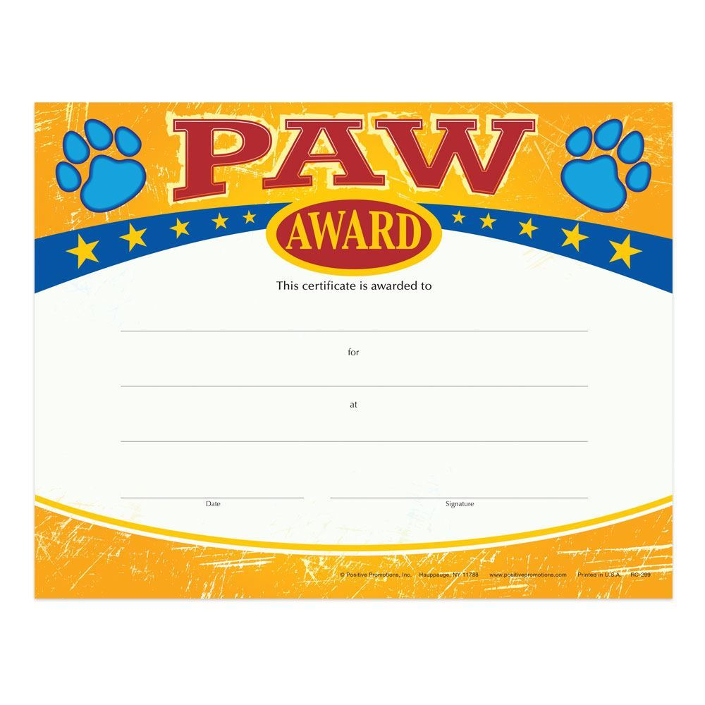 Paw Award Gold Foil-Stamped Certificates - Pack of 25