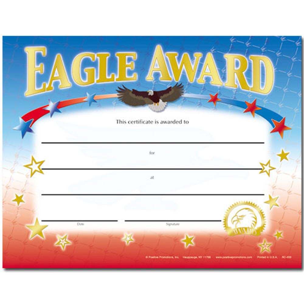 Eagle Award Gold Foil-Stamped Certificate