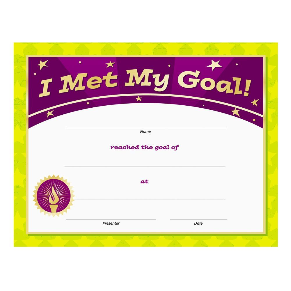 I Met My Goal! Gold Foil-Stamped Certificates - Pack of 25