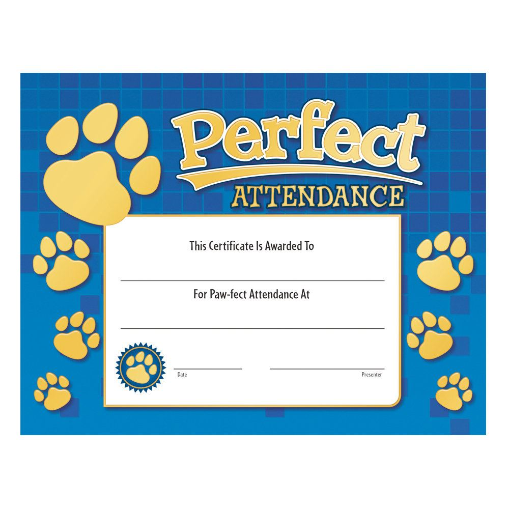 Perfect Attendance Paw Design Gold Foil-Stamped Certificates - Pack of 25