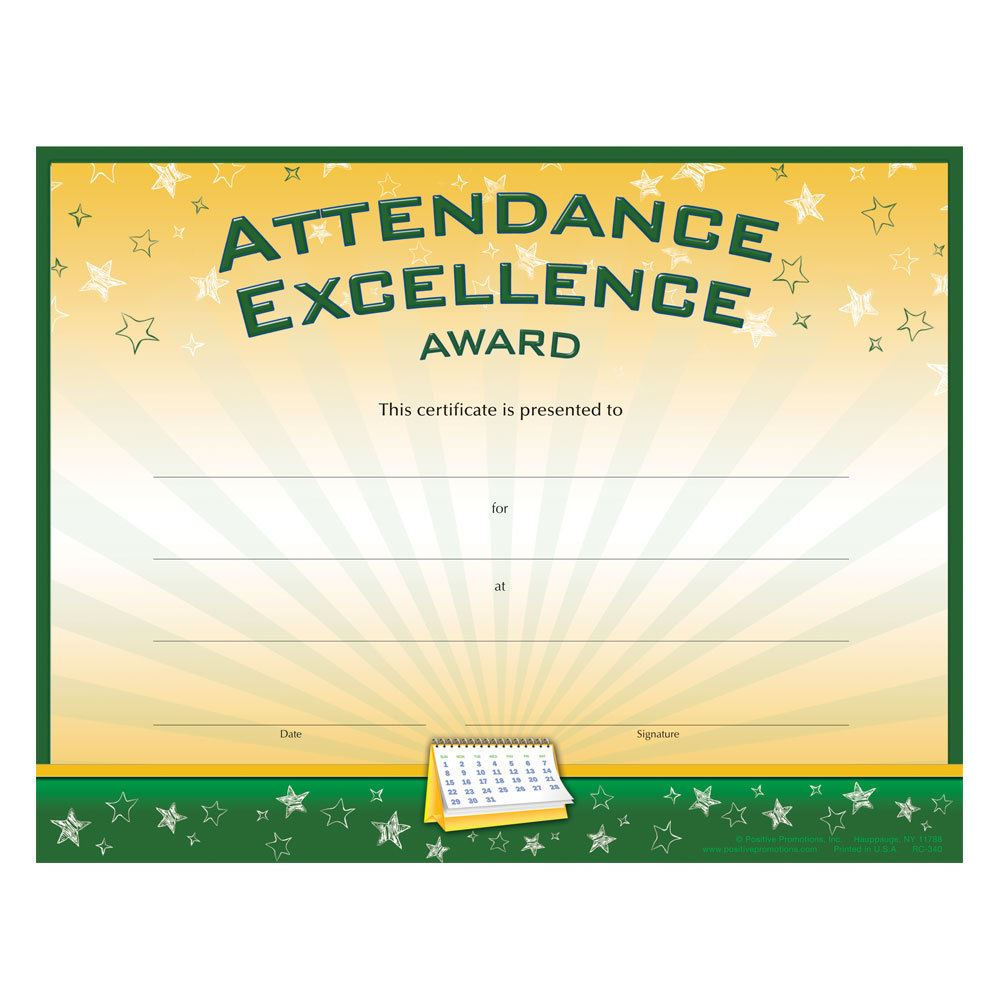 Attendance Excellence Certificate
