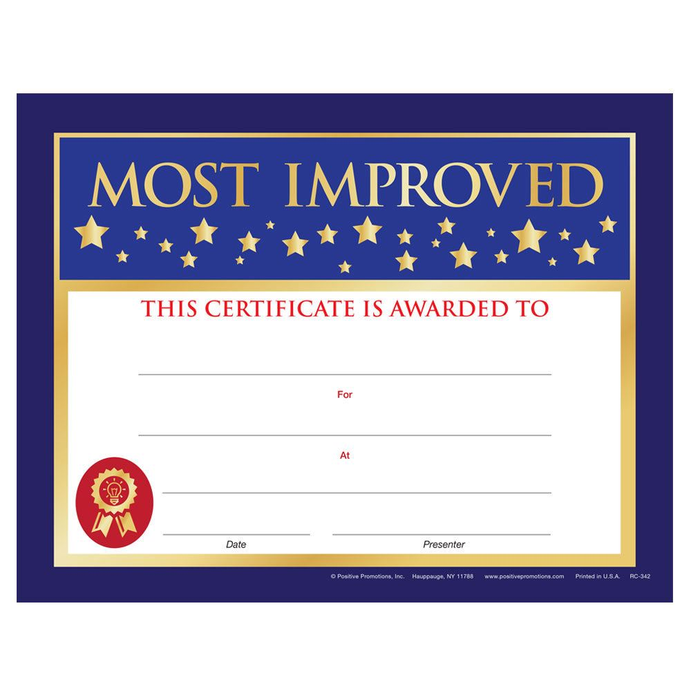 Most Improved Gold Foil-Stamped Certificates - Pack of 25