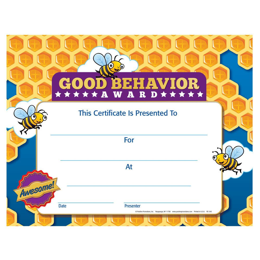 Good Behavior Award Gold Foil Stamped Certificate Positive Promotions