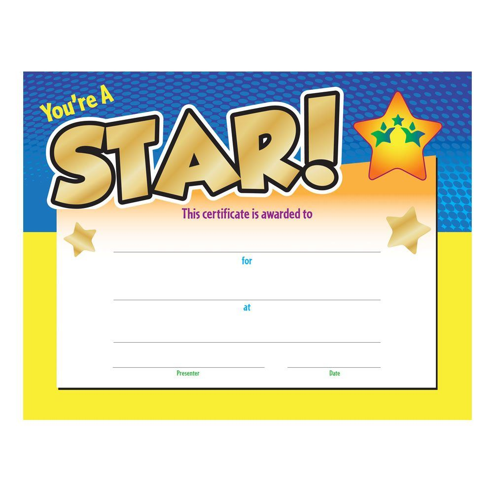 Youre A Star Award Gold Foil Stamped Certificate Positive Promotions