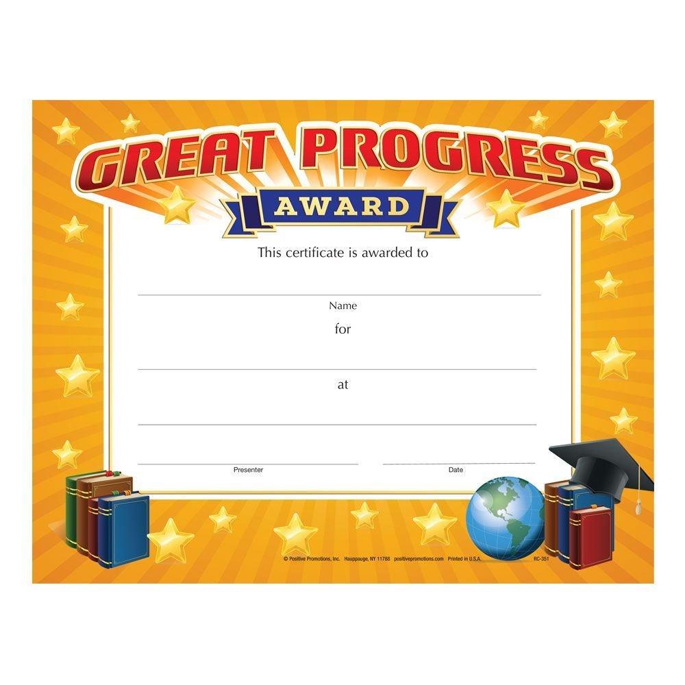 Great Progress Award Gold Foil-Stamped Certificates - Pack of 25
