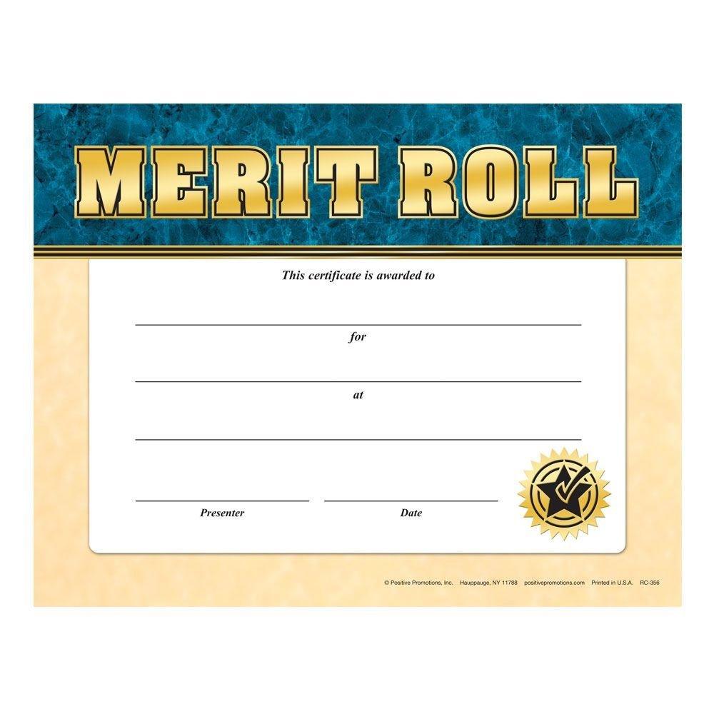 Merit Roll Award Gold Foil-Stamped Certificates - Pack of 25