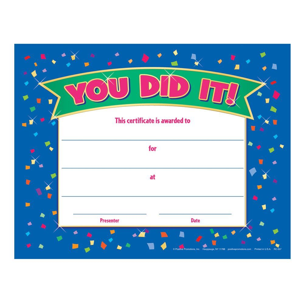 You Did It! Gold Foil-Stamped Certificate